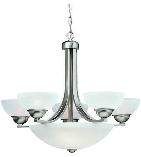 Dolan Designs 208-09 Fireside 8 Light 26 inch Satin Nickel Chandelier Ceiling Light in Alabaster photo