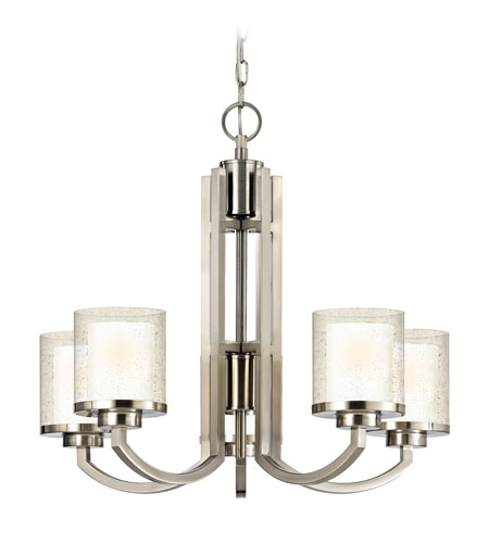 Dolan Designs 2950-09 Horizon 5 Light 25 inch Satin Nickel Chandelier Ceiling Light in Outer Clear Seedy Inner Satin White photo