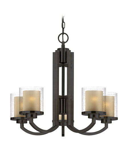 Dolan Designs 2950-78 Horizon 5 Light 25 inch Bolivian Bronze Chandelier Ceiling Light in Outer Clear Seedy Inner Honey Amber photo