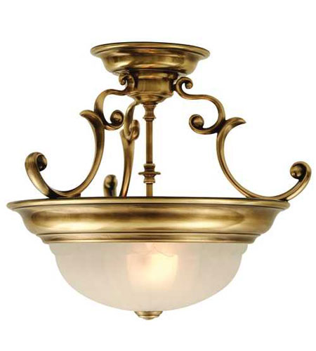 Dolan Designs Richland 2 Light Semi-Flush Mount in Old Brass 524-18 photo