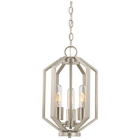 Hexagon 3 Light 10 inch Satin Nickel Chandelier Ceiling Light