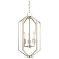 Hexagon 3 Light 12 inch Satin Nickel Chandelier Ceiling Light