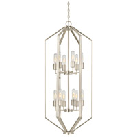Hexagon 12 Light 18 inch Satin Nickel Chandelier Ceiling Light
