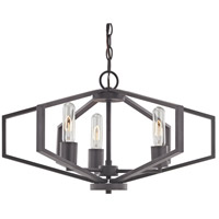 Hexagon 3 Light 22 inch Bolivian Bronze Chandelier Ceiling Light