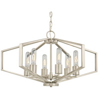 Hexagon 6 Light 26 inch Satin Nickel Chandelier Ceiling Light