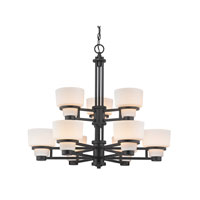 Saxon 9 Light 30 inch Warm Bronze Chandelier Ceiling Light