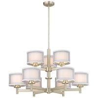 Signature 9 Light 33 inch Satin Nickel Chandelier Ceiling Light, Two Tier