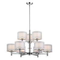 Double Organza 9 Light 33 inch Chrome Chandelier Ceiling Light