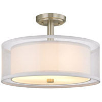 Signature 3 Light 16 inch Satin Nickel Semi Flush Mount Ceiling Light