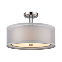 Double Organza 3 Light 16 inch Chrome Semi Flushmount Ceiling Light