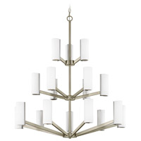 Radiance LED 34 inch Satin Nickel Chandelier Ceiling Light, Three Tier