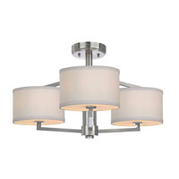 Monaco 3 Light 24 inch Satin Nickel Semi-Flush Ceiling Light
