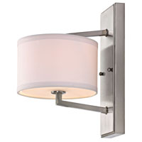 Monaco 1 Light 8 inch Satin Nickel Wall Sconce Wall Light in White Fabric