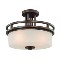 Multnomah 3 Light 15 inch Heirloom Bronze Semi-Flush Mount Ceiling Light