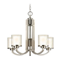 Horizon 5 Light 25 inch Satin Nickel Chandelier Ceiling Light in Outer Clear Seedy Inner Satin White