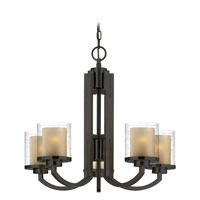 Horizon 5 Light 25 inch Bolivian Bronze Chandelier Ceiling Light in Outer Clear Seedy Inner Honey Amber