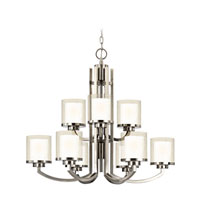 Horizon 9 Light 30 inch Satin Nickel Chandelier Ceiling Light in Outer Clear Seedy Inner Satin White