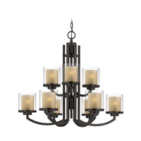 Horizon 9 Light 30 inch Bolivian Bronze Chandelier Ceiling Light in Outer Clear Seedy Inner Honey Amber