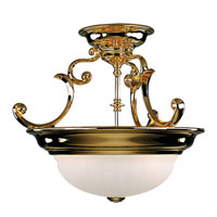 Richland 2 Light 17 inch Polished Brass Semi-Flush Mount Ceiling Light