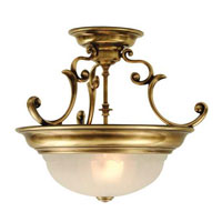 Richland 2 Light 17 inch Old Brass Semi-Flush Mount Ceiling Light