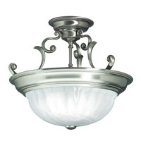 Richland 3 Light 17 inch Satin Nickel Semi-Flush Mount Ceiling Light in Alabaster