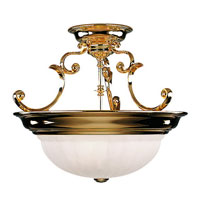 Richland 3 Light 17 inch Polished Brass Semi-Flush Mount Ceiling Light in Alabaster