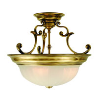 Richland 3 Light 17 inch Old Brass Semi-Flush Mount Ceiling Light in Alabaster