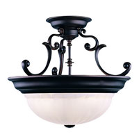 Richland 3 Light 17 inch Royal Bronze Semi-Flush Mount Ceiling Light in Alabaster