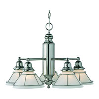Craftsman 5 Light 14 inch Satin Nickel Chandelier Ceiling Light