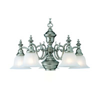 Richland 6 Light 26 inch Satin Nickel Chandelier Ceiling Light in Alabaster