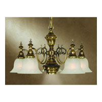 Richland 6 Light 26 inch Old Brass Chandelier Ceiling Light in Alabaster