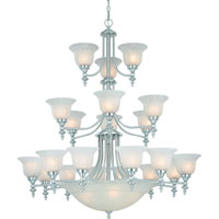 Richland 24 Light 44 inch Satin Nickel Chandelier Ceiling Light in Alabaster