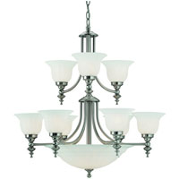 Richland 12 Light 30 inch Satin Nickel Chandelier Ceiling Light in Alabaster