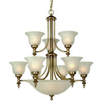 Richland 12 Light 30 inch Old Brass Chandelier Ceiling Light in Alabaster