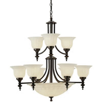 Richland 12 Light 30 inch Royal Bronze Chandelier Ceiling Light in Alabaster