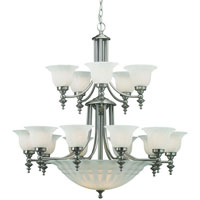 Richland 18 Light 36 inch Satin Nickel Chandelier Ceiling Light in Alabaster