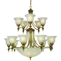 Richland 18 Light 36 inch Old Brass Chandelier Ceiling Light in Alabaster