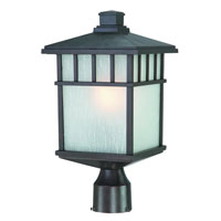 Barton 1 Light 17 inch Olde World Iron Exterior Post Lantern in White Linen