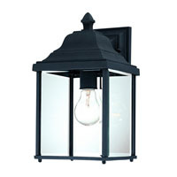 Charleston 1 Light 13 inch Black Exterior Wall Lantern in Beveled