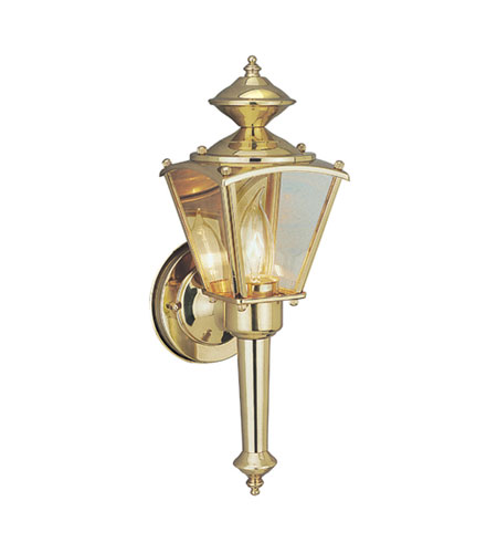 Designers Fountain Beveled Glass Lantern 1 Light Outdoor Wall Lantern in Polished Brass 1163-PB photo
