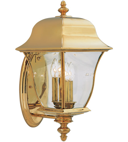 Designers Fountain Gladiator 3 Light Outdoor Wall Lantern in Polished Brass 1552-PVD-PB photo