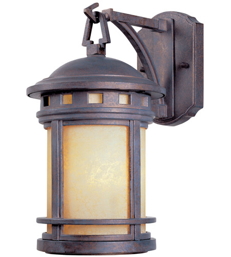 Designers Fountain 2371-AM-MP Sedona 1 Light 13 inch Mediterranean Patina Outdoor Wall Lantern in Amber photo