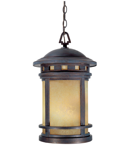 Designers Fountain 2394-AM-MP Sedona 3 Light 11 inch Mediterranean Patina Outdoor Hanging Lantern in Amber photo