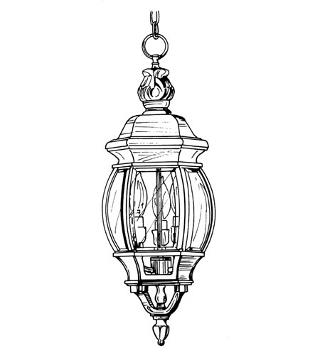 Designers Fountain Riviera 3 Light Outdoor Hanging Lantern in Autumn Gold 2414-AG photo