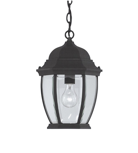 Designers Fountain Tiverton 1 Light Outdoor Hanging Lantern in Black 2434-BK photo