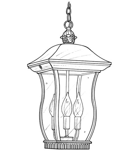Designers Fountain Chelsea 3 Light Outdoor Hanging Lantern in Black 2724-BK photo