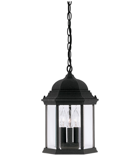 Designers Fountain Devonshire 3 Light Outdoor Hanging Lantern in Black 2984-BK photo