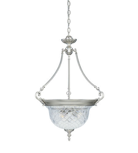 Designers Fountain Victoria Hall 3 Light Pendant in Satin Platinum 5955-SP