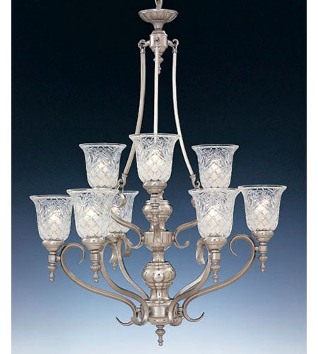 Designers Fountain Victoria Hall 9 Light Chandelier in Satin Platinum 5959-SP