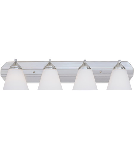 Designers Fountain 6604-SP Piazza 4 Light 30 inch Satin Platinum Bath Bar Wall Light in Frosted White photo